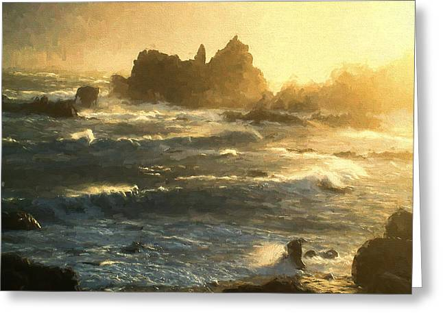 Ocean Photography Greeting Cards - Stormy Seas - La Corbiere - Jersey Channel Islands Greeting Card by TN Fairey