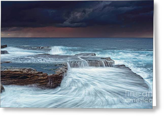 Turbulent Skies Greeting Cards - Stormy skies at sunrise Greeting Card by Leah-Anne Thompson