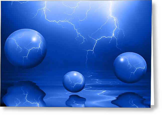 Stormy Night Greeting Cards - Stormy Skies - Blue Greeting Card by Shane Bechler
