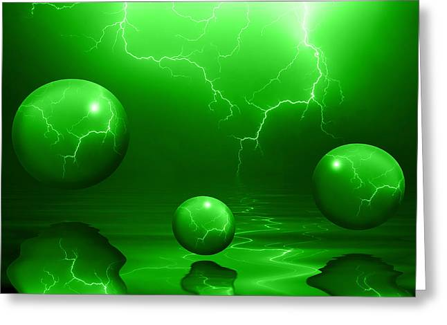 Stormy Night Greeting Cards - Stormy Skies - Green Greeting Card by Shane Bechler