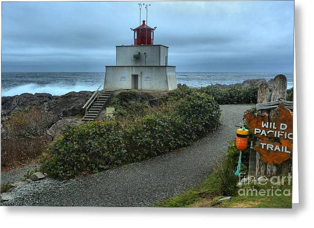Stormy Skies Over The Amphitrite Lighthouse Greeting Card by Adam Jewell