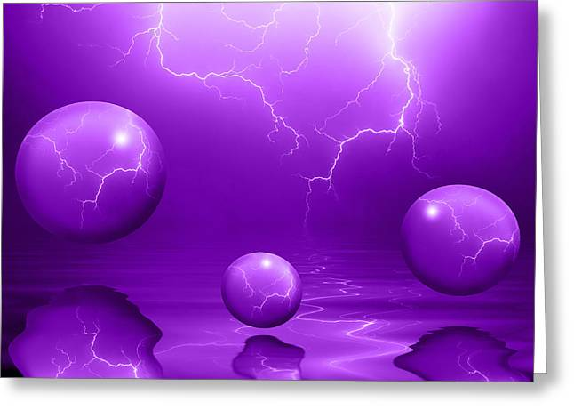Stormy Night Greeting Cards - Stormy Skies - Purple Greeting Card by Shane Bechler