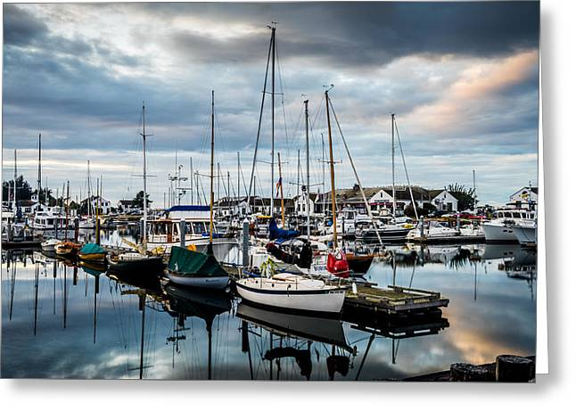Boats At Dock Greeting Cards - Stormy Skies Greeting Card by TL  Mair