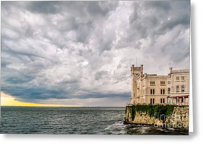 Turbulent Skies Greeting Cards - Stormy sky above the Miramare Castle in Trieste Greeting Card by Roberto Lo Savio