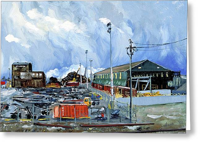 Wooden Train Print Greeting Cards - Stormy Sky Over Shipyard and Steel Mill Greeting Card by Asha Carolyn Young