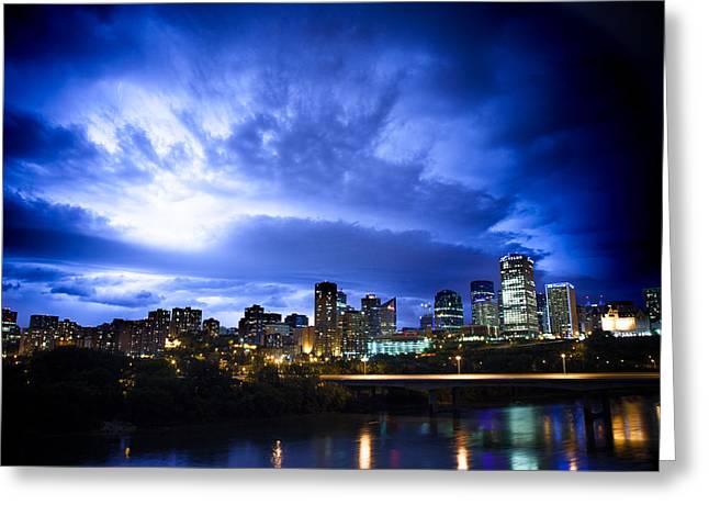 Thunderstorm Greeting Cards - Stormy Skys Over Edmonton Greeting Card by Ian MacDonald