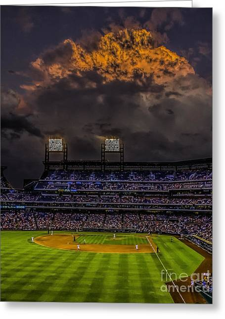 Pennsylvania Baseball Parks Greeting Cards - Stormy Sunset at the Baseball Game Greeting Card by Nick Zelinsky