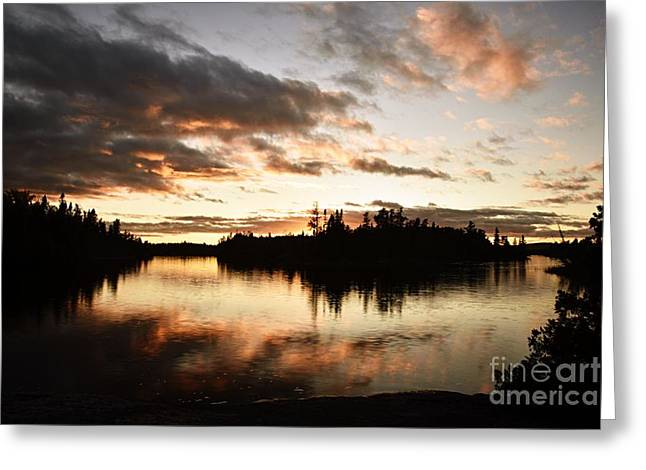 Stormy Sunset On Little Saganaga Lake Greeting Card by Larry Ricker