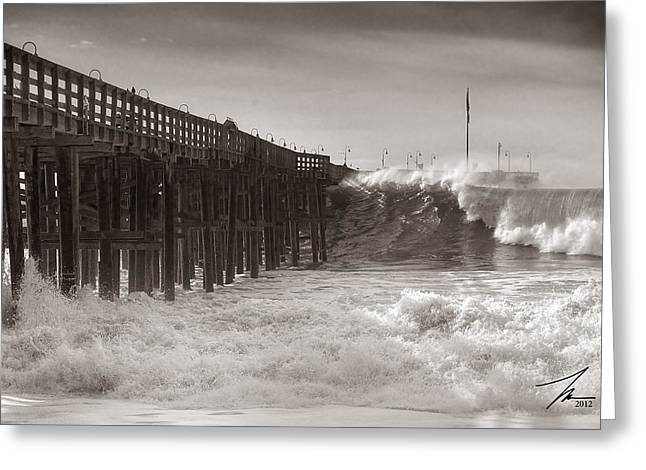 Wood Pier Greeting Cards - Stormy Ventura Pier Greeting Card by Steve Munch