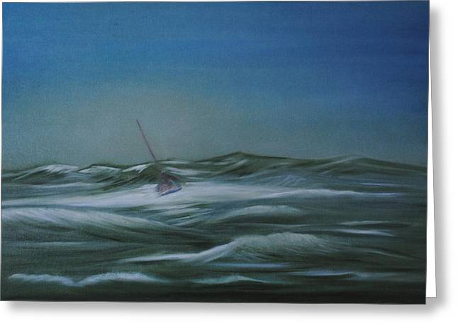 Blue Sailboats Greeting Cards - Stormy Weather Greeting Card by Fiona Dinali
