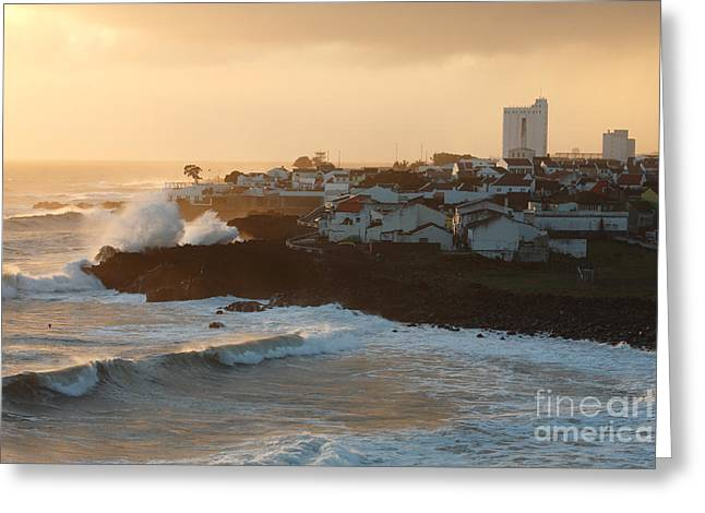 Stormy weather in Azores Greeting Card by Gaspar Avila