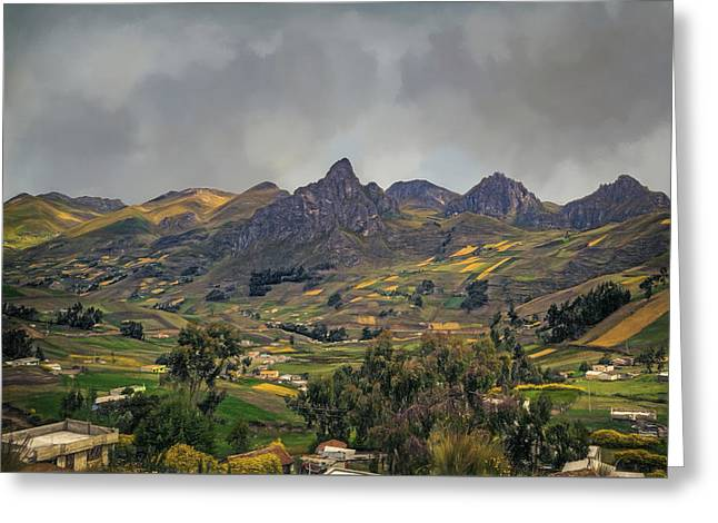 Patch Quilts Greeting Cards - Stormy Weather in the Andes Greeting Card by Maria Coulson