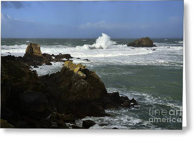 Arc-en-ciel Greeting Cards - Stormy weather Quiberon peninsula Brittany France Greeting Card by Joel Douillet