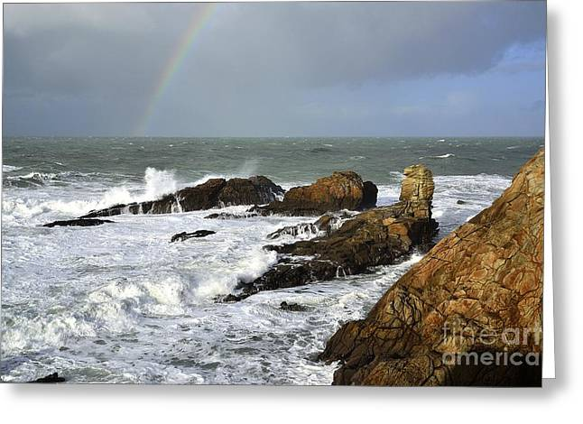 Arc-en-ciel Greeting Cards - Stormy weather Quiberon peninsula France 2 Greeting Card by Joel Douillet