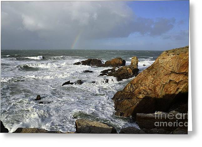 Arc-en-ciel Greeting Cards - Stormy weather Quiberon peninsula France Greeting Card by Joel Douillet
