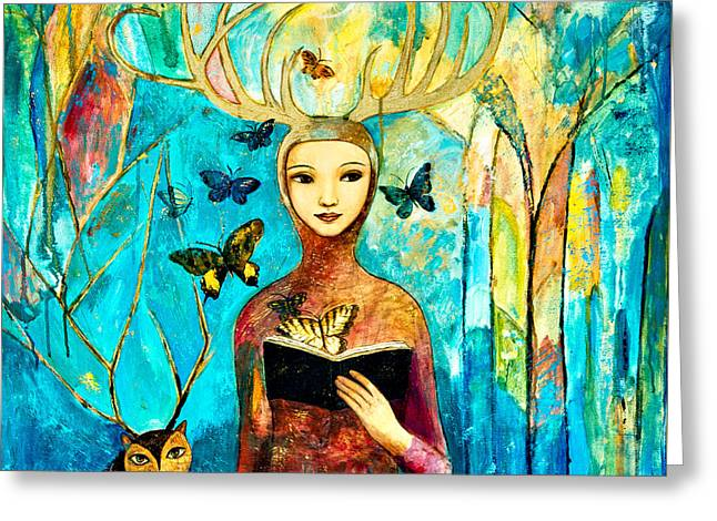 Deer Hat Greeting Cards - Story of Forest Greeting Card by Shijun Munns