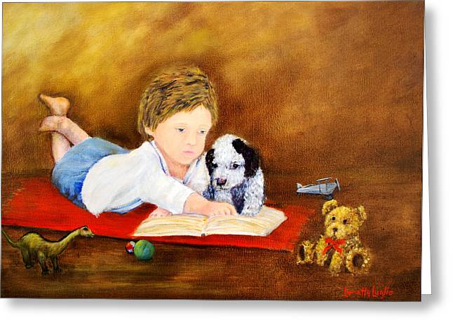 Toy Dog Greeting Cards - Storybook Time Greeting Card by Loretta Luglio