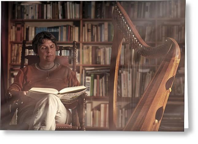 Moods Greeting Cards - Storyteller & Harpist Greeting Card by Christoph Hessel