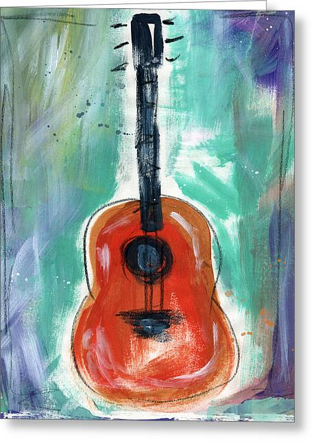 Blue And Orange Greeting Cards - Storytellers Guitar Greeting Card by Linda Woods