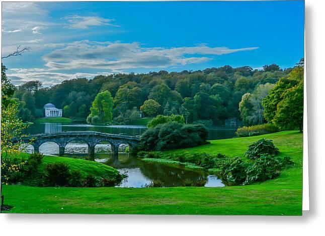 Bridge Over A Lake Greeting Cards - Stourhead Greeting Card by Richard Simpson