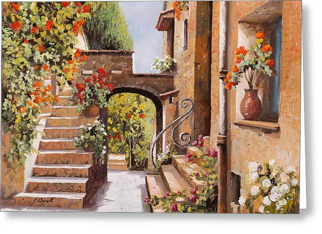 stradina di Cagnes Greeting Card by Guido Borelli