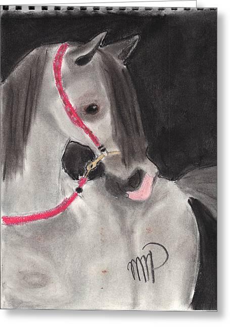 Arabian Pastels Greeting Cards - Straight Egyptian Arabian Greeting Card by Maddi Pollihan