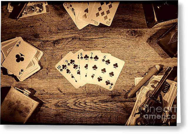Old Western Photos Greeting Cards - Straight Flush Greeting Card by American West Legend By Olivier Le Queinec