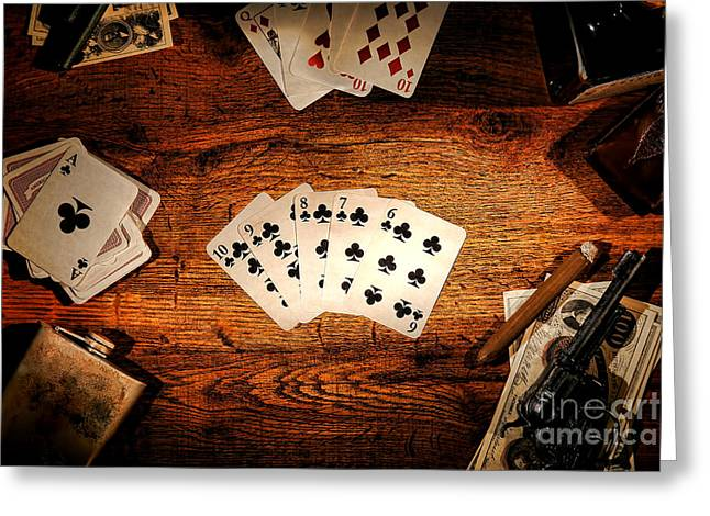 Saloons Greeting Cards - Straight Flush Greeting Card by Olivier Le Queinec