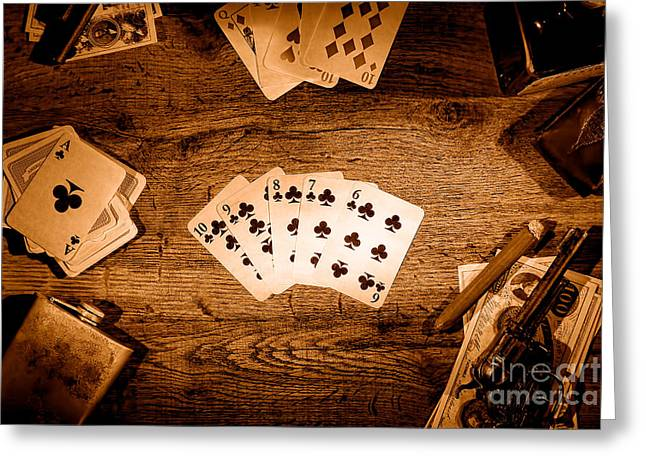 Wager Greeting Cards - Straight Flush - Sepia Greeting Card by Olivier Le Queinec