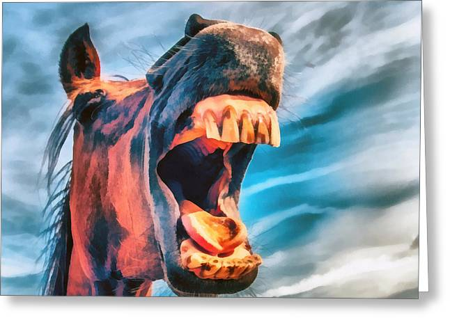 Straight From The Horses Mouth Greeting Card by Edward Fielding