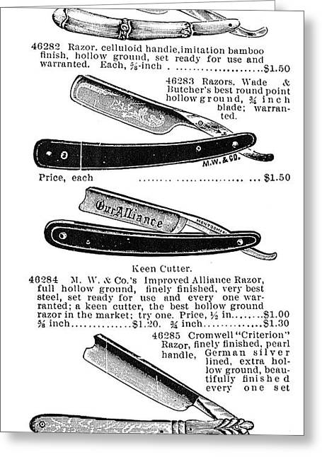 Catalog Greeting Cards - Straight Razors, 1895 Greeting Card by Granger