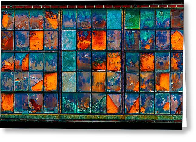 Recently Sold -  - Oranger Greeting Cards - Strained Glass Window Greeting Card by Steven Maxx