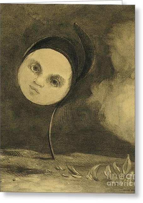 Strange Flower  Little Sister Of The Poor Greeting Card by Odilon Redon