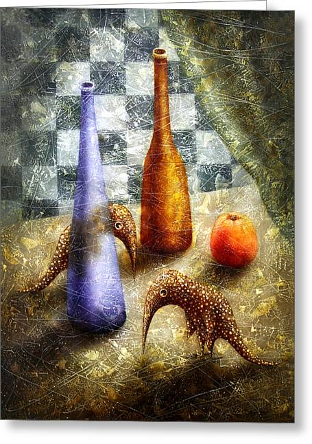 Apple Art Greeting Cards - Strange Games on the Table Greeting Card by Lolita Bronzini