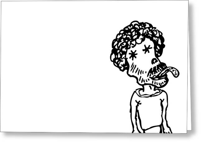 Sized Drawings Greeting Cards - Strange Little Man Greeting Card by Karl Addison