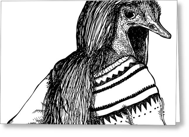 Bizarre Drawings Greeting Cards - Strange Ostrich Lady Greeting Card by Karl Addison