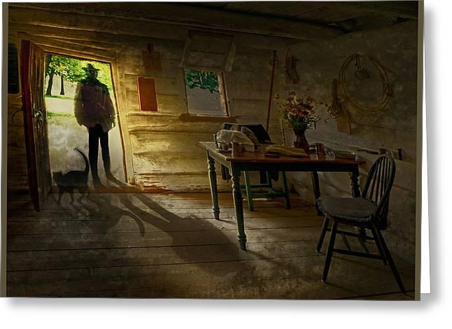 Log Cabin Interiors Digital Greeting Cards - Stranger At The Door Greeting Card by John Anderson