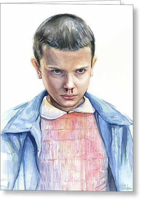 Stranger Things Eleven Portrait Greeting Card by Olga Shvartsur