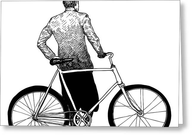 Stranger with Bike Greeting Card by Karl Addison