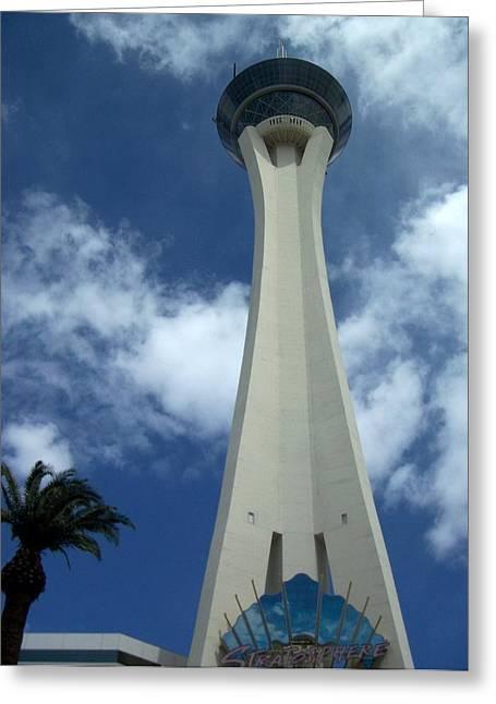 Stratosphere Greeting Cards - Stratosphere Tower Greeting Card by Anita Burgermeister