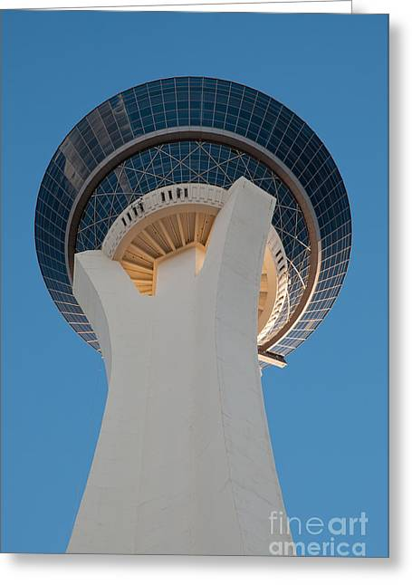 Usa Photographs Greeting Cards - Stratosphere Tower up close Greeting Card by Andy Smy