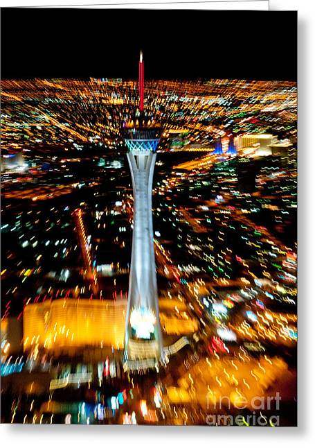 Nevada Greeting Cards - Stratosphere Zoom Greeting Card by Andy Smy