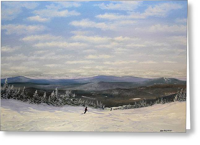 Stratton Skiing Greeting Card by Ken Ahlering