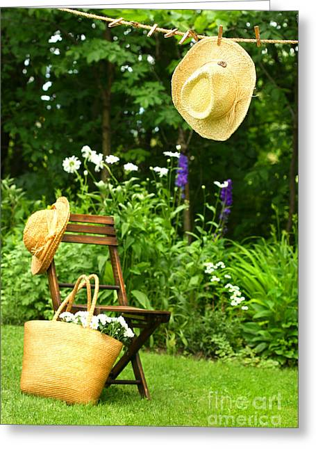 Pegs Greeting Cards - Straw hat hanging on clothesline Greeting Card by Sandra Cunningham