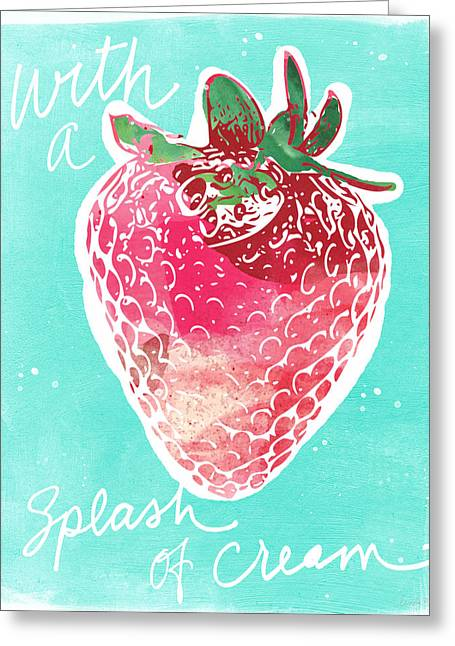 Strawberries Greeting Cards - Strawberries and Cream Greeting Card by Linda Woods