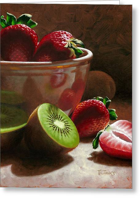 Strawberries Greeting Cards - Strawberries and Kiwis Greeting Card by Timothy Jones