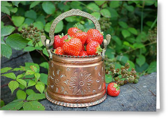 Harvest Art Greeting Cards - Strawberries Delight Greeting Card by Vicky Adams