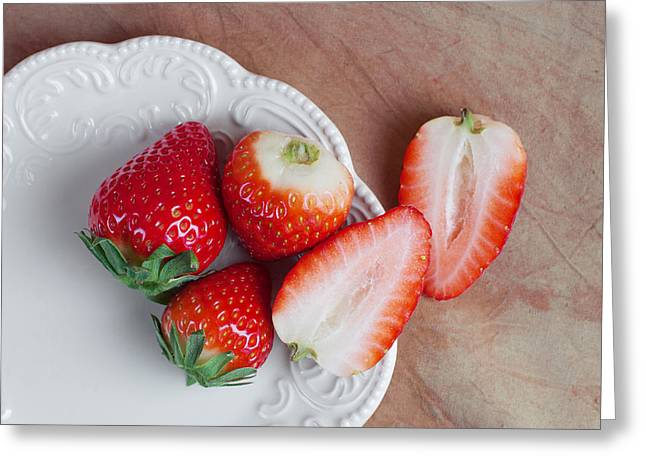 Strawberries From Above Greeting Card by Tom Mc Nemar