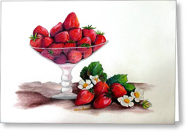 Bowl Pastels Greeting Cards - Strawberries  Greeting Card by Karin Kelshall- Best