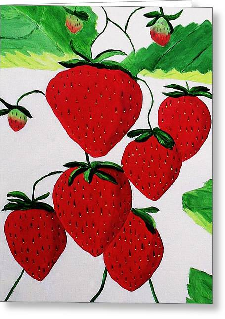 Greeting Card featuring the painting Strawberries by Rodney Campbell
